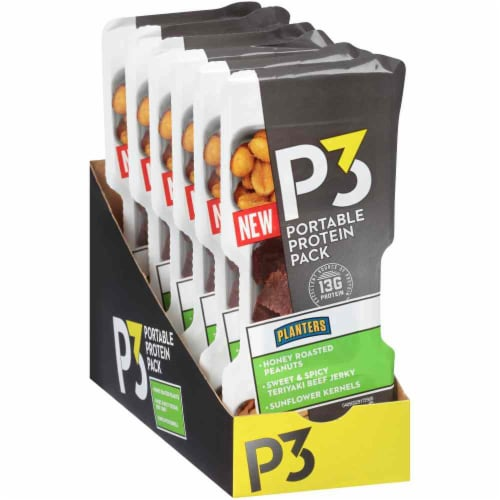 Planters P3 Teriyaki Beef Jerky Honey Roasted Peanuts & Sunflower Kernels Portable Protein Pack Perspective: front