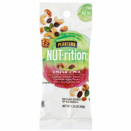 Planters Nut Rition Omega 3 Mix Snack Nuts, 1.75 Ounce -- 30 per case. Perspective: front
