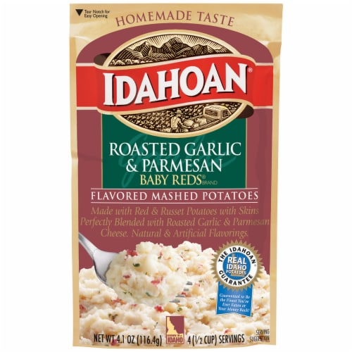 Idahoan Roasted Garlic & Parmesan Mashed Potatoes Case Sale Perspective: front