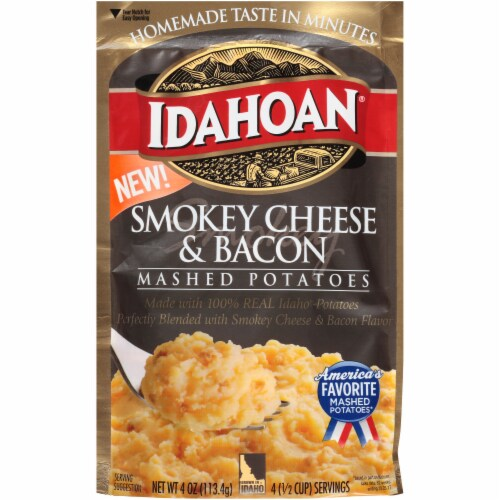 Idahoan Smokey Cheese & Bacon Mashed Potatoes Case Sale Perspective: front