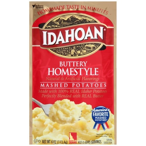 Idahoan Buttery Homestyle Mashed Potatoes Case Perspective: front