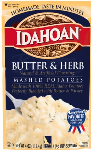 Idahoan Butter & Herb Mashed Potatoes Pouch Case Sale Perspective: front
