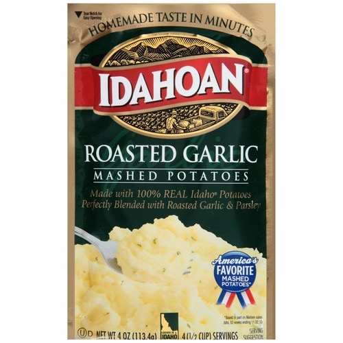 Idahoan Roasted Garlic Mashed Potatoes Case Sale Perspective: front