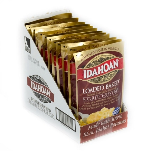 Idahoan Loaded Baked Mashed Potatoes Case Perspective: front