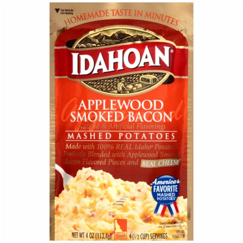 Idahoan Applewood Smoked Bacon Mashed Potatoes Case Sale Perspective: front