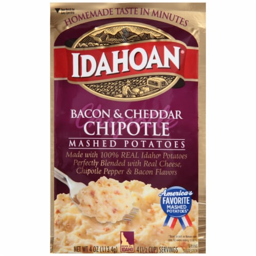 Idahoan Bacon & Cheddar Chipotle Mashed Potatoes Case Sale Perspective: front