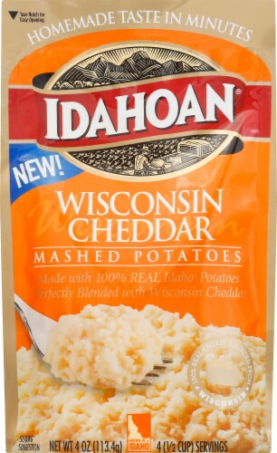 Idahoan Wisconsin Cheddar Flavored Mashed Potatoes Case Sale Perspective: front