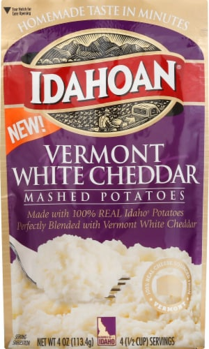 Idahoan Vermont White Cheddar Mashed Potatoes Case Sale Perspective: front