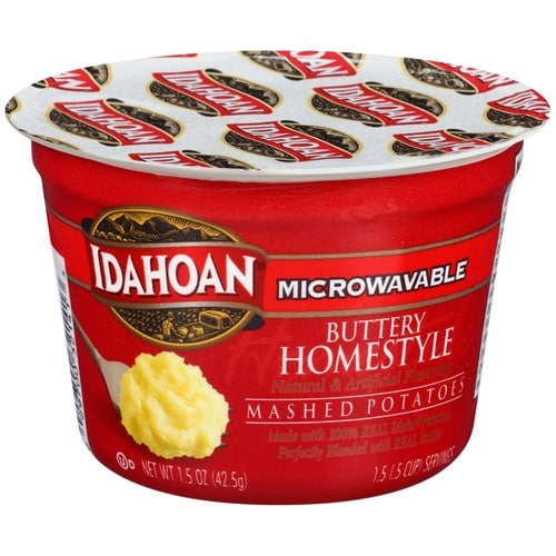Idahoan Buttery Homestyle Microwave Mashed Potatoes Case Sale Perspective: front