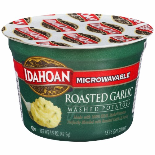 Idahoan Roasted Garlic Mashed Potato Cups Case Sale Perspective: front