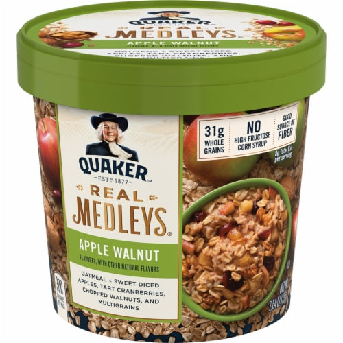 Quaker Real Medleys Apple Walnut Instant Oatmeal Cups Perspective: front