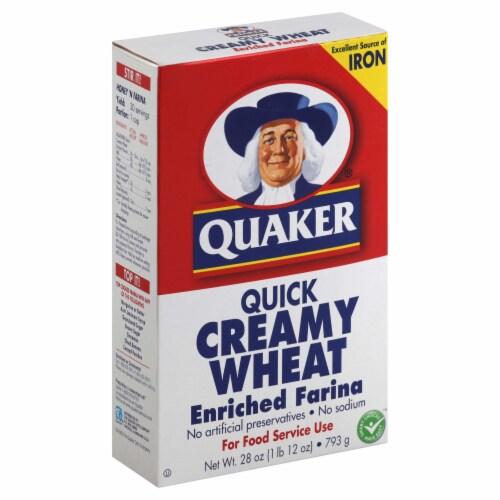 Quaker Creamy Wheat Farina Oat, 28 Ounce -- 12 per case. Perspective: front