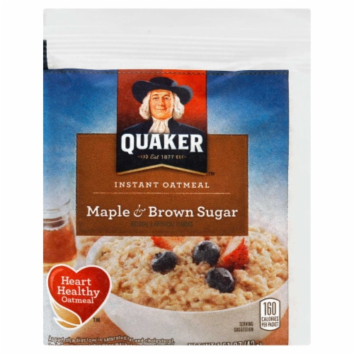 Quaker Instant Oatmeal, Maple and Brown Sugar, 1.5 Ounce -- 48 per case. Perspective: front