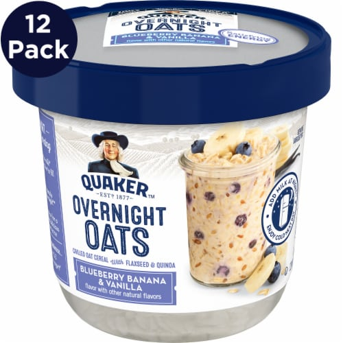 Quaker Blueberry Banana & Vanilla Overnight Oats Perspective: front