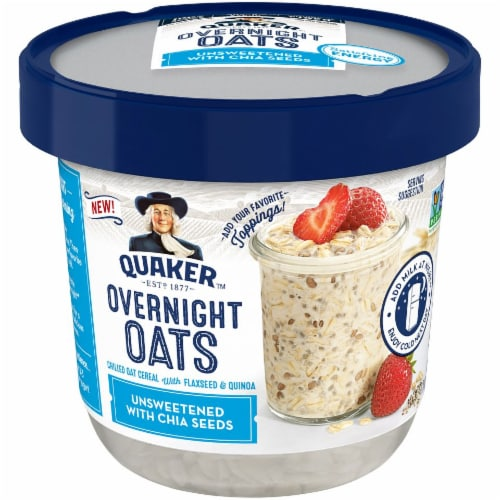 Quaker Unsweetened Overnight Oats with Chia Seeds Cups Perspective: front