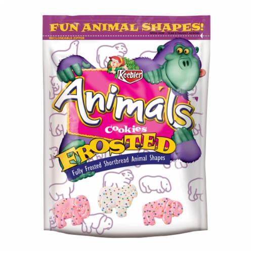 Keebler Iced Animal Cookies Frosted, 13 Ounce Bags -- 6 per case. Perspective: front