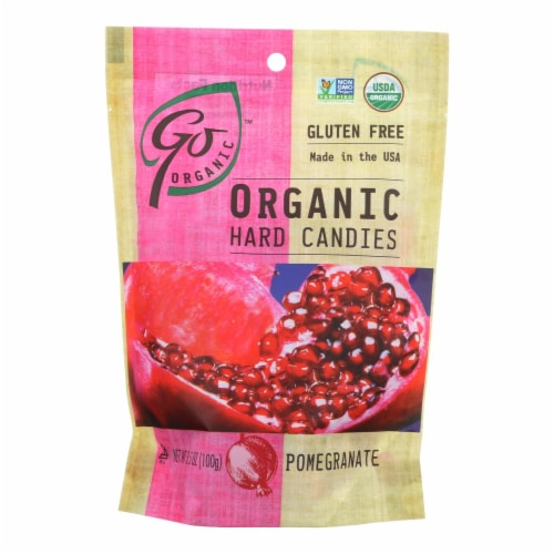 Go Organic Hard Candy - Pomegranate - 3.5 oz - Case of 6 Perspective: front