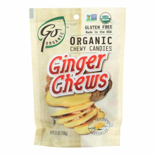 Go Organic Ginger Chews - 3.5 oz - Case of 6 Perspective: front