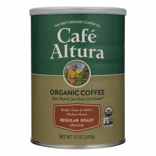 Cafe Altura - Organic Ground Coffee - Regular Roast - Case of 6 - 12 oz. Perspective: front