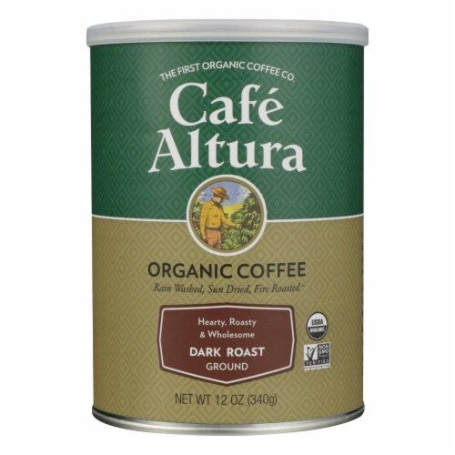 Cafe Altura - Organic Ground Coffee - Dark Roast - Case of 6 - 12 oz. Perspective: front