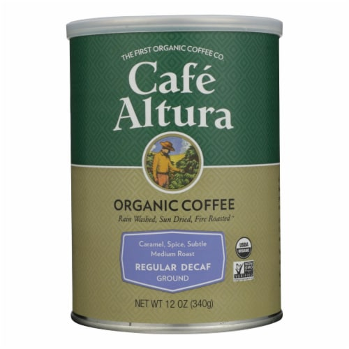 Cafe Altura - Organic Regular Roast Ground Coffee - Decaf - Case of 6 - 12 oz Perspective: front