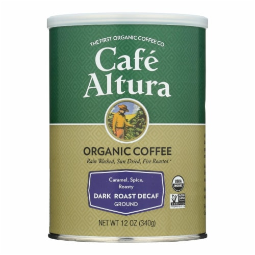 Cafe Altura Dark Roast Ground Decaf Organic  - Case of 6 - 12 OZ Perspective: front