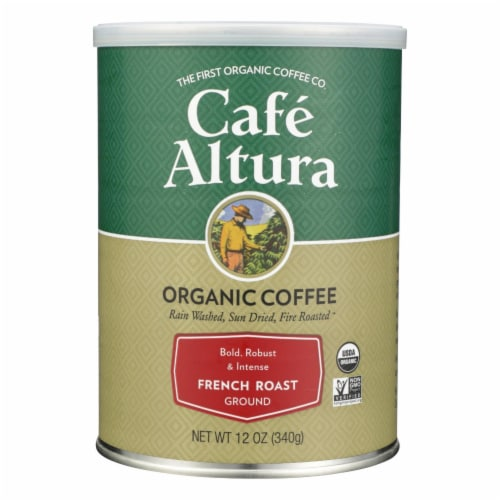 Cafe Altura - Organic Ground Coffee - French Roast - Case of 6 - 12 oz. Perspective: front