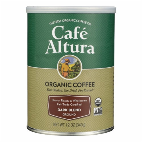 Cafe Altura - 100% Organic Fair Trade Dark Blend Coffee - Case of 6 - 12 oz Perspective: front