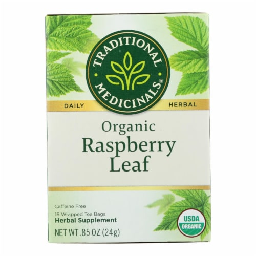 Traditional Medicinals Organic Raspberry Leaf Herbal Tea - Caffeine Free - 16 Bags Perspective: front