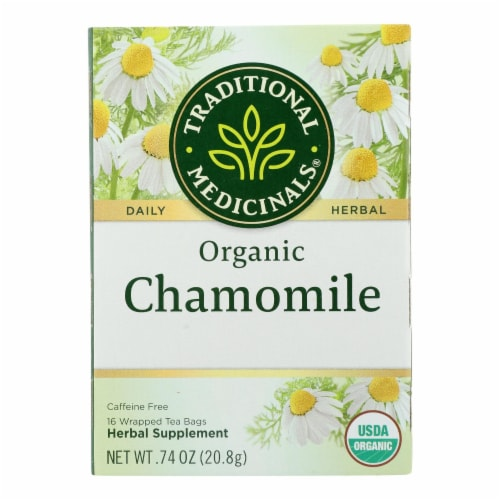 Traditional Medicinals Organic Chamomile Herbal Tea - Caffeine Free - Case of 6 - 16 Bags Perspective: front