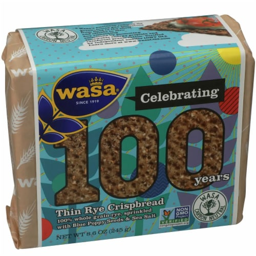 Wasa Thin Rye Poppy Seeds Crispbread, 8.6oz(Pack of 12) Perspective: front