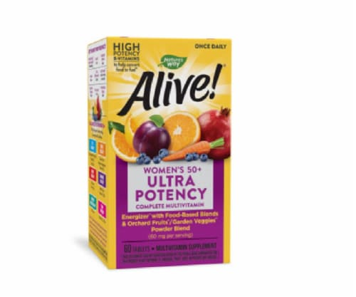 Natures Way Tablets Women's 50+ Once Daily Multi-Vitamin & Whole Food Energizer, 60 ea Perspective: front