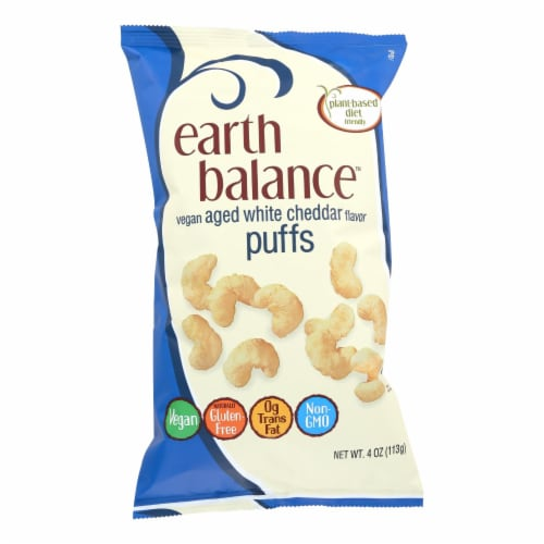 Earth Balance Vegan Aged White Cheddar Puffs Case Perspective: front