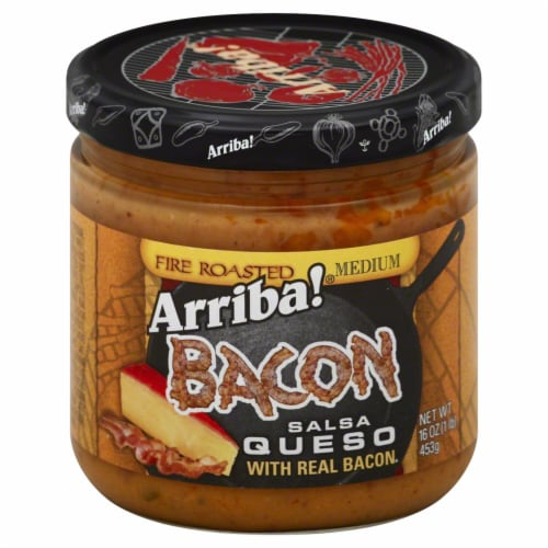 Arriba Medium Bacon Fire Roasted Salsa Queso, 16 Oz (Pack of 6) Perspective: front