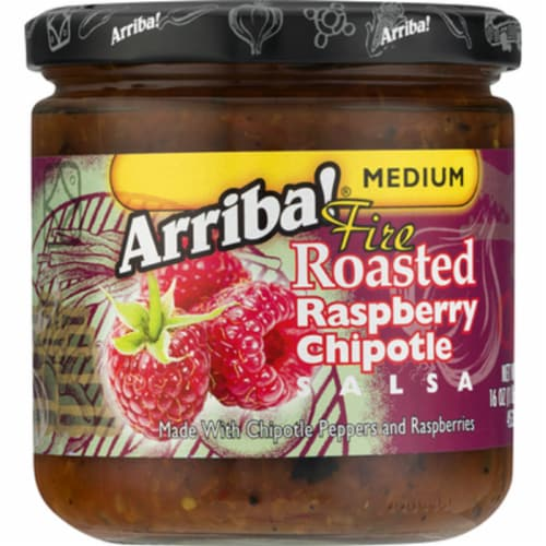 Arriba Medium Fire Roasted Rasberry Chiptole Salsa, 16 Oz (Pack of 6) Perspective: front