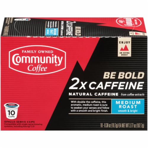Community Coffee 2x Caffeine Medium Roast Single-Serve Coffee Cups Perspective: front