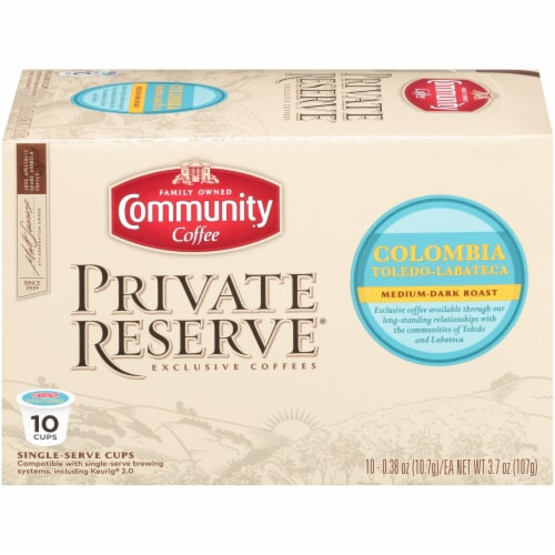 Community Coffee Private Reserve Colombia Single Serve Coffee Cups Case Perspective: front