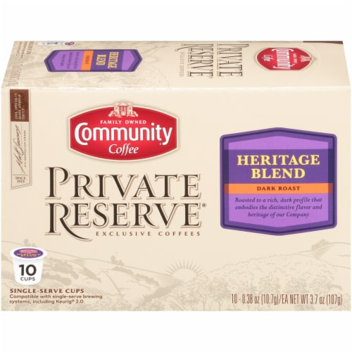 Community Coffee Private Reserve Heritage Blend Single Serve Coffee Cups Case Perspective: front