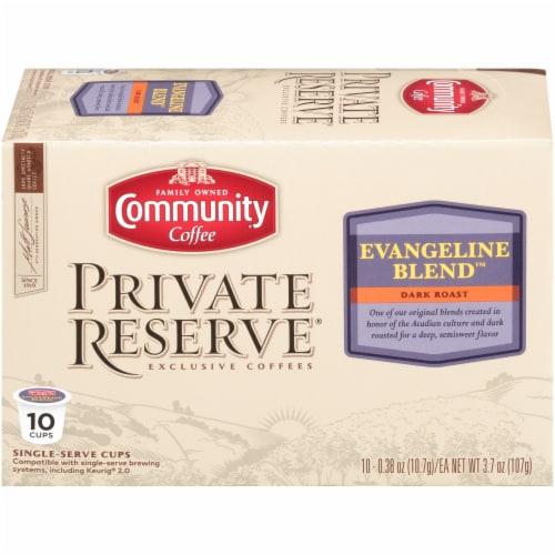 Community Coffee Private Reserve Evangeline Blend Dark Roast Single-Serve Coffee Cups Perspective: front