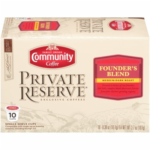 Community Coffee Private Reserve Founders Blend Medium-Dark Roast Single-Serve Coffee Cups Perspective: front