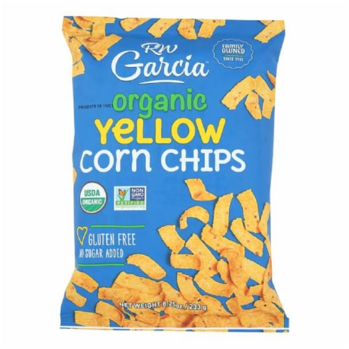 RW Garcia Organic Yellow Corn Chips Gluten Free and No Sugar Added, 8.25oz (Pack of 12) Perspective: front