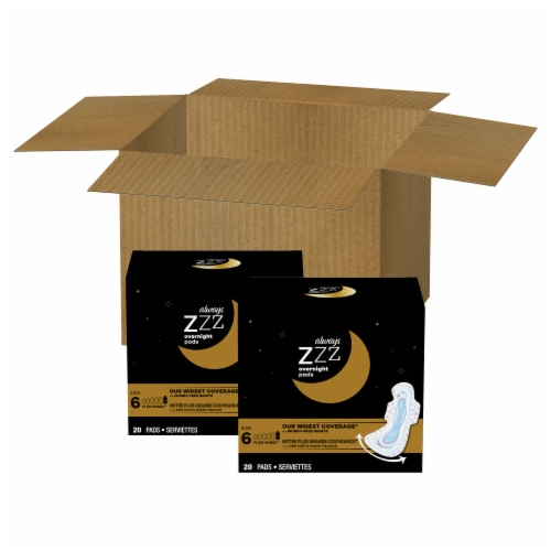 Always ZZZ Size 6 Overnight Pads with Wings Perspective: front