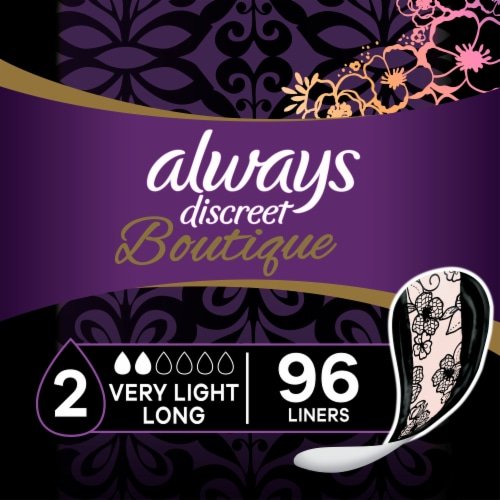 Always Discreet Boutique Very Light Absorbency Long Incontinence Liners Perspective: front