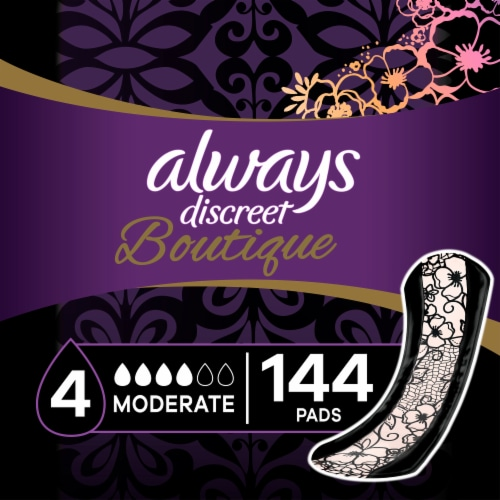 Always Discreet Boutique Moderate Absorbency Regular Incontinence Pads Perspective: front