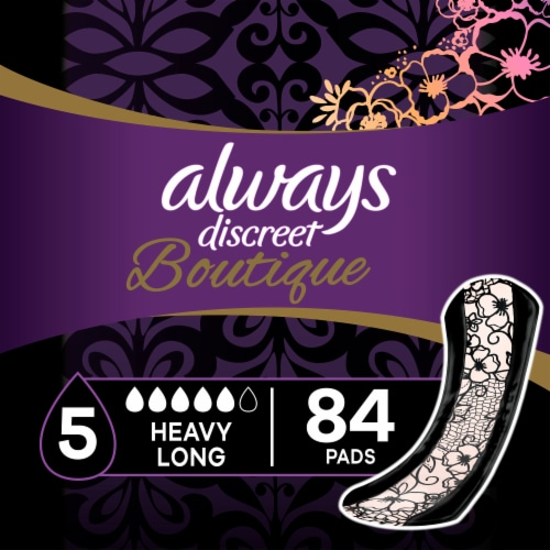 Always Discreet Boutique Heavy Long Incontinence Pads Perspective: front