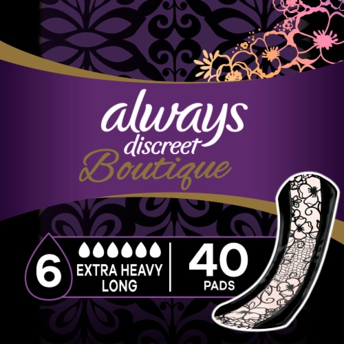 Always Discreet Boutique Extra Heavy Absorbency Long Incontinence Pads Perspective: front