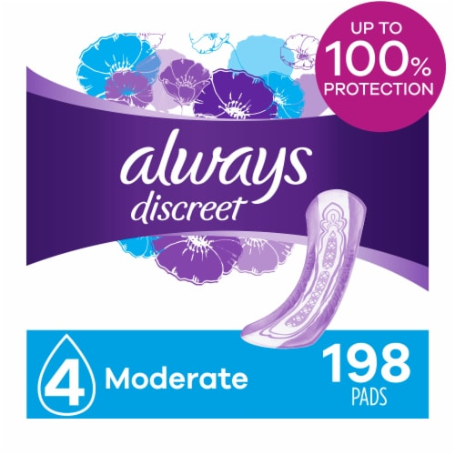 Always Discreet Moderate Absorbency Incontinence Pads for Women Perspective: front