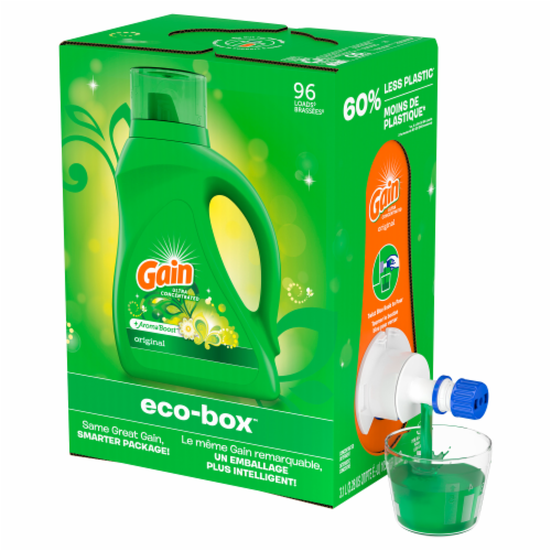 Gain Eco-Box +Aroma Boost Original Liquid Laundry Detergent Perspective: front