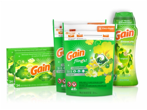 Gain Flings Laundry Detergent Pacs Dryer Sheets & Fireworks Scent Booster Beads Bundle Perspective: front