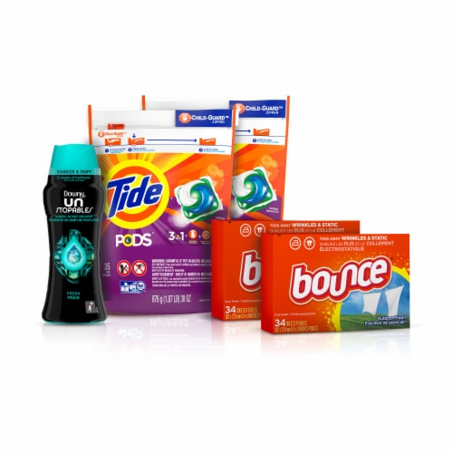 Tide Pods Downy Unstoppables Bounce Dryer Sheets Bundle Perspective: front